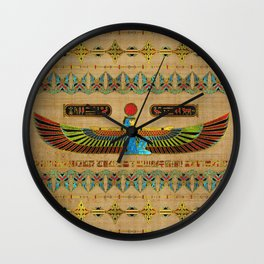 Egyptian Goddess Isis Ornament on papyrus Wall Clock