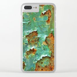 Rust and Deep Aqua Blue Abstract Clear iPhone Case