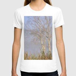 Foggy sunrise at the mammoth lagoon. Misty trees. Granada. Spain. T-shirt
