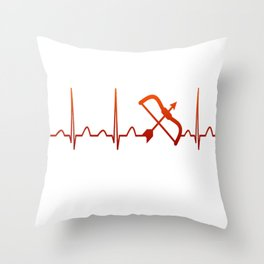 Archery Heartbeat Throw Pillow
