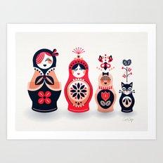 Russian Nesting Dolls – Hot Pink Art Print