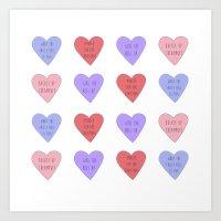 carmilla Art Prints featuring carmilla candy hearts by mircalla