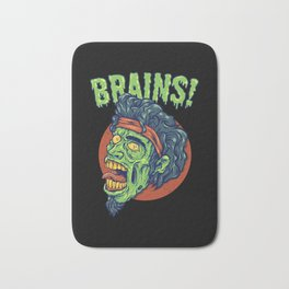 Zombie Looking For Brains Because He's Hungry Bath Mat