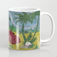 trex Mugs featuring Trex-tra Cuddly by lindsey salles