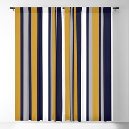 Modern Stripes in Mustard Yellow, Navy Blue, Gray, and White. Minimalist Color Block Blackout Curtain