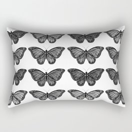 Monarch Butterfly - Black and White Rectangular Pillow