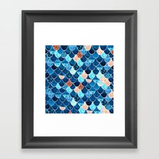 REALLY MERMAID BLUE & GOLD Framed Art Print