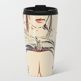 Dirty japanese schoolgirl, nerdy is sexy, hot curvy topless asian nude posing, kinky adult erotic Travel Mug