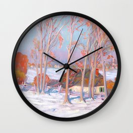 Clarence Gagnon - Première Neige - First Snow, Baie St. Paul Wall Clock