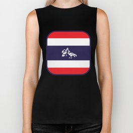 Thailand Flag, Roosters Sparring Biker Tank