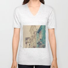 Grunge Summer Town (Retro and Vintage Urban, architecture photography, blue and cream) Unisex V-Neck