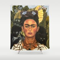 frida Shower Curtains featuring Frida by Jenna Spurlock