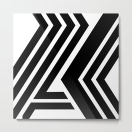 Black and White Geometric Abstract Metal Print