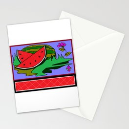Watermelon with flower and red tile Stationery Cards