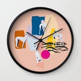 Greyhound colorful abstract pattern Wall Clock