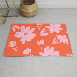 Pink and Red Floral Design Cute Feminine Palm Springs California Inspired Flowers Rug