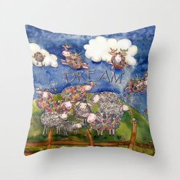 Adorable Watercolor Flying DREAM Sheep  Throw Pillow