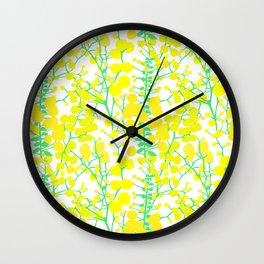 Australian Golden Wattle Flowers in White Wall Clock