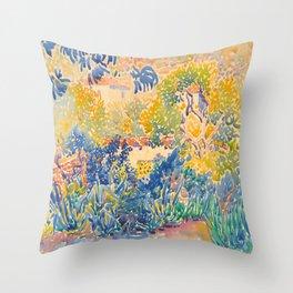 Henri-Edmond Cross Neo-Impressionism Pointillism The Artist's Garden at St. Clair Watercolor Paintin Throw Pillow