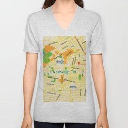 Map of Nashville, TN Unisex V-Neck