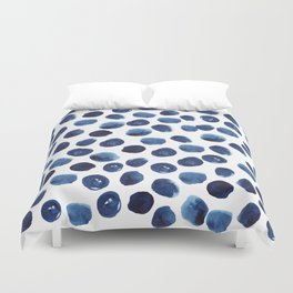 India - blue paint, ink spots, design, watercolor brush, dots, cell phone case Duvet Cover
