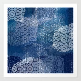 Shibori Lace Collage Art Print