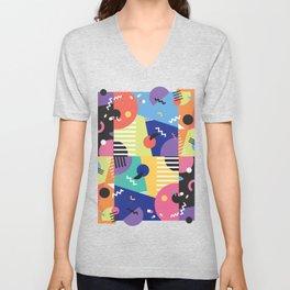 Colourful Memphis Block Design Unisex V-Neck
