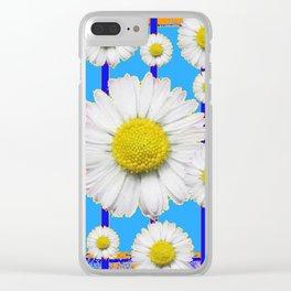 Modern Art Blue Shasta Flowers Pattern Clear iPhone Case
