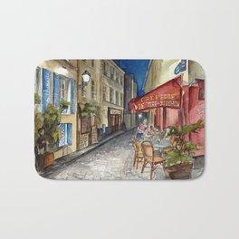 Postcards from Paris - Montmartre by Night: Le Tire-Bouchon Creperie Bath Mat