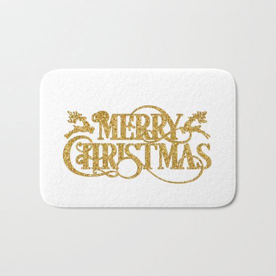 Merry Christmas - Gold glitter Typography Bath Mat
