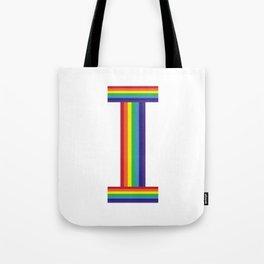 Rainbow Monogram - Letter I Tote Bag
