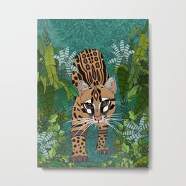 ocelot jungle green Metal Print