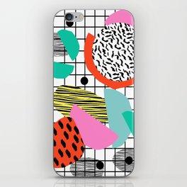 Posse - 1980's style throwback retro neon grid pattern shapes 80's memphis design neon pop art iPhone Skin