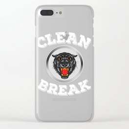 """An impactful design with a tiger in gray tones saying """"Clean Break"""" for Clean freak person Cleanse  Clear iPhone Case"""
