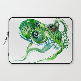 Beach art, green Octopus, sea world, aquatic nautical octopus art Laptop Sleeve