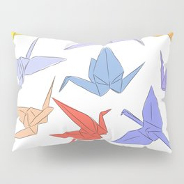 Japanese Origami paper cranes symbol of happiness, luck and longevity Pillow Sham