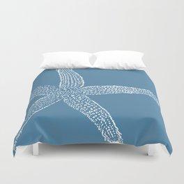 Starfish-white on blue Duvet Cover