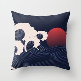 Japanese Sunset Throw Pillow