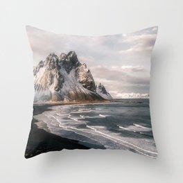 Stokksnes Icelandic Mountain Beach Sunset - Landscape Photography Throw Pillow