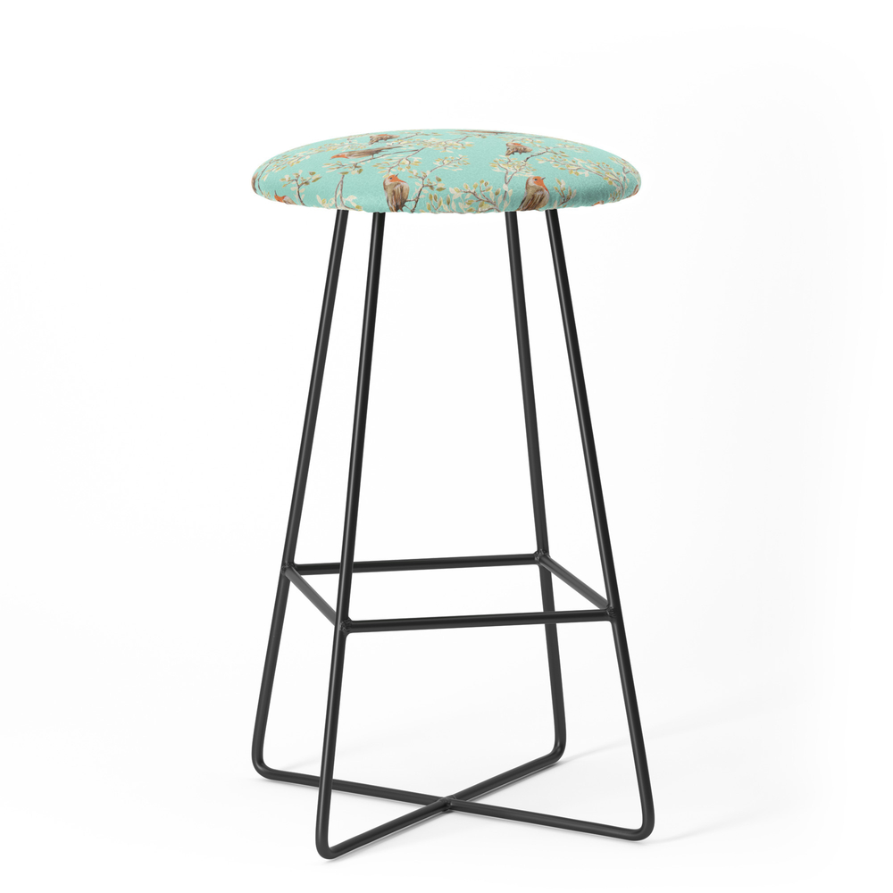 Vintage Redbreast Robin Pattern Bar Stool by tanyalegere (BST7776169) photo