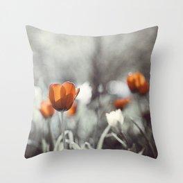 Orange Grey Tulip Photography, Burnt Orange Tulip Flowers Photo Throw Pillow