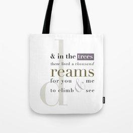 The Dreams/Reams of Trees Tote Bag