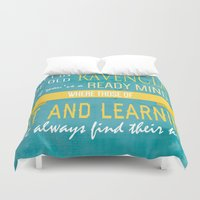 ravenclaw Duvet Covers featuring Wise Old Ravenclaw by MilkP