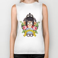 tina crespo Biker Tanks featuring Tina - Everything's ok face  by Sara Eshak