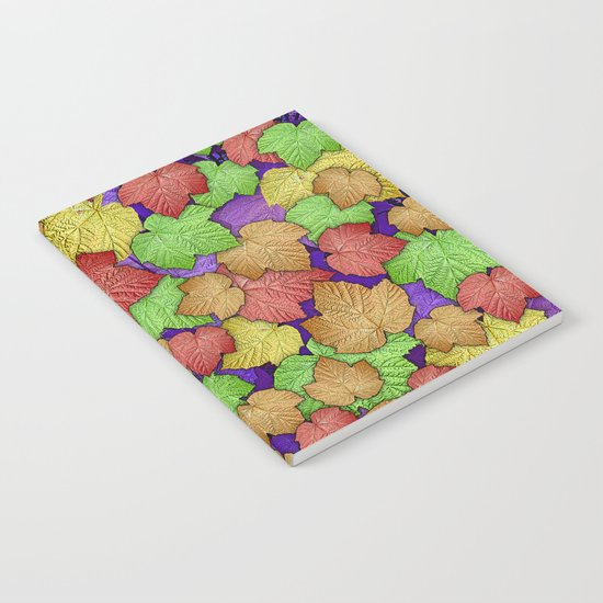 HAPPY MULTICOLOR THIMBLEBERRY LEAVES Notebook