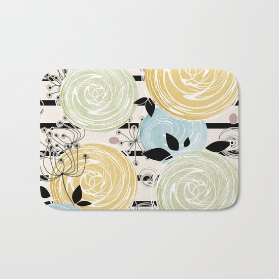 Retro . Abstract floral pattern on a striped background . Bath Mat
