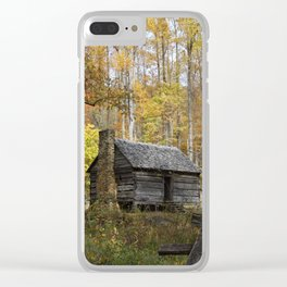 Smoky Mountain Rural Rustic Cabin Autumn View Clear iPhone Case