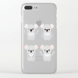 Seamless pattern - Funny cute koala on white background Clear iPhone Case