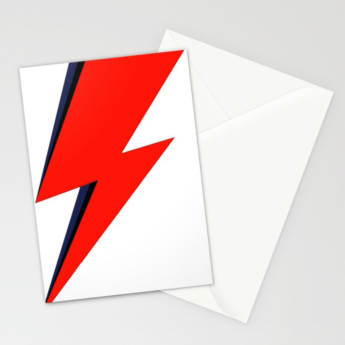 Red Bowie David Lightning Bolt Stationery Cards