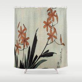 Hokusai, red orchid -manga, japan,hokusai,japanese,北斎,ミュージシャン Shower Curtain